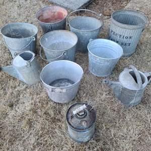 Lot # 180 Galvanized Buckets & More