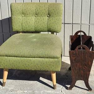 Lot # 197 MCM Upholstered Chair & Wood Magazine Rack