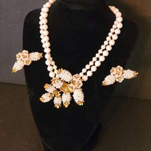 Lot # 214  VTG Miriam Haskell Necklace & Earrings