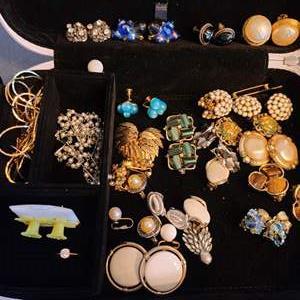 Lot # 215 VTG Carnegie, Lisner, Silver Earrings & More