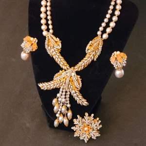 Lot # 217 VTG Miriam Haskell Necklace, Earrings & Brooch