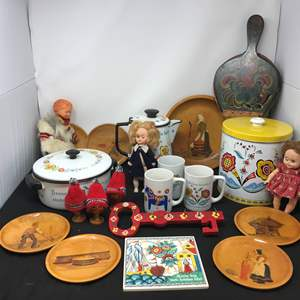 Lot # 50 - Lot of Norwegian Items: Canister, Doll, Wood Plates Coffee Mugs & More