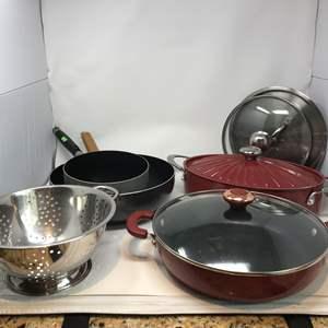 Lot # 53 - Rachael Ray Roasting Pan, Paula Deen Pan, Strainer & Other Misc. Pans