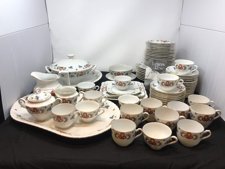 Lot # 54 - 81 Piece Set of Farmers Rose Porsgrund Porcelain China  (main image)