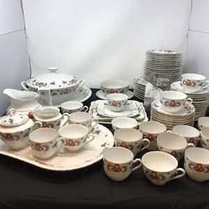 Lot # 54 - 81 Piece Set of Farmers Rose Porsgrund Porcelain China