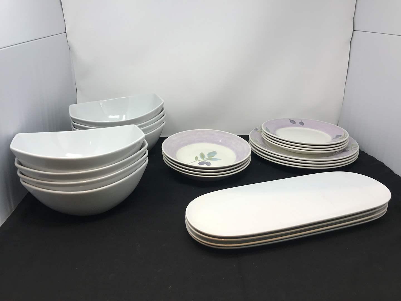 "Lot # 58 - 12 Pier 1 ""Olive Mist"" Dishes & Large White Salad Bowls (main image)"