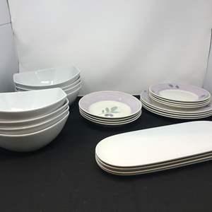 "Lot # 58 - 12 Pier 1 ""Olive Mist"" Dishes & Large White Salad Bowls"