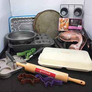 Lot # 60 - Lot of Baking Sheets, New Muffin Pan, Rolling Pin & More