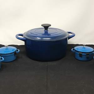 Lot # 61 - 4 New Small Machille Cast Iron Dutch Ovens & One Large