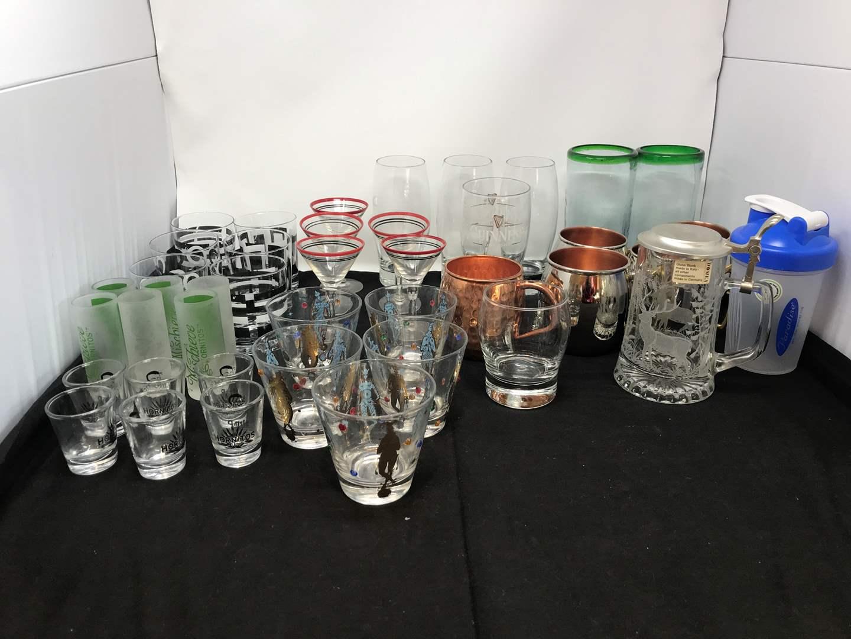 Lot # 66 - Lot of Shot Glasses, Martini Glasses, Beer Steins & More (main image)