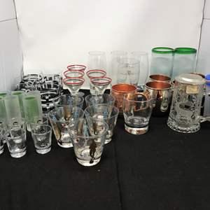 Lot # 66 - Lot of Shot Glasses, Martini Glasses, Beer Steins & More