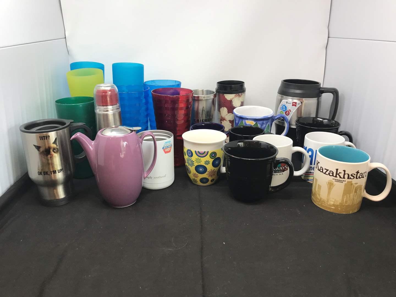 Lot # 67 - Lot of Coffee Mugs & Plastic Cups (main image)