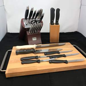 Lot # 70 - Cutting Board & Chicago Cutlery Knives & Knife Block