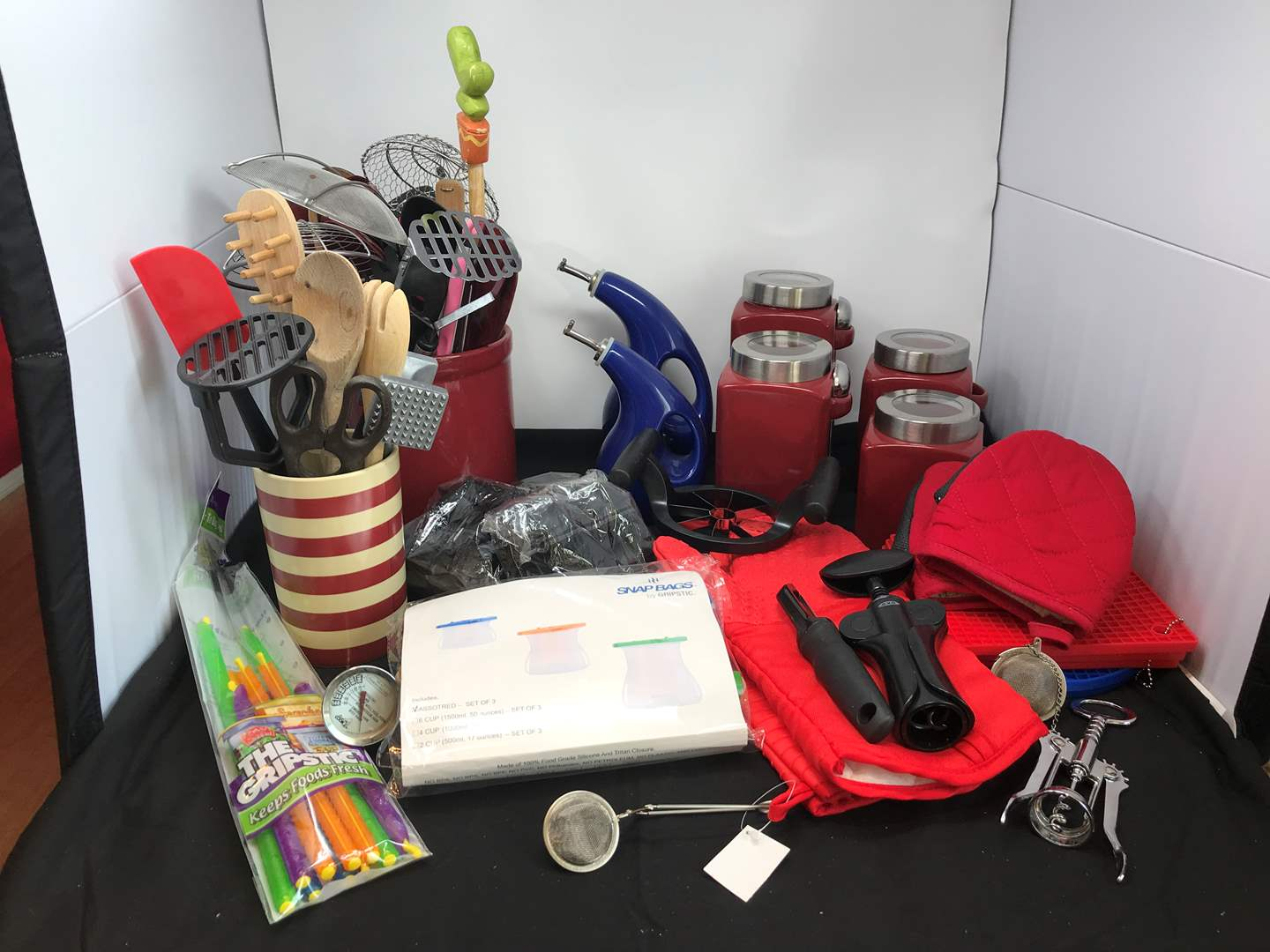 Lot # 72 - Kitchen Utensils, Canisters, Oven Mitts & More (main image)