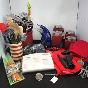 Lot # 72 - Kitchen Utensils, Canisters, Oven Mitts & More