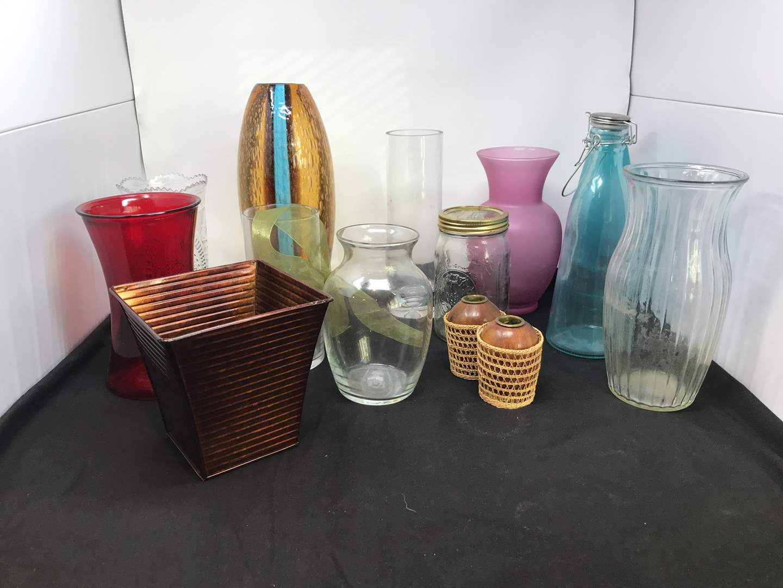 Lot # 77 - Lot of Glass & Plastic Vases (main image)