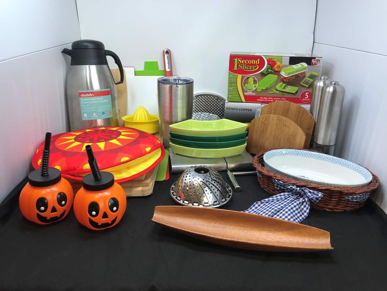 Lot # 79 - Lot of Kitchen Items: Chopping Boards, Yeti Mug, Veggie Slicer & More (main image)