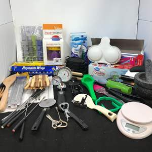 Lot # 84 - Tin Foil, Cling Wrap, Angry Mama, & Kitchen Utensils