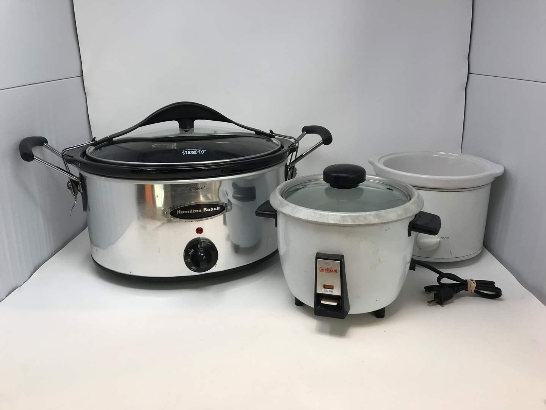 Lot # 85 - Hamilton Beach Crock Pot, Rice Cooker & Smaller Crock Pot w/Out Lid  (main image)