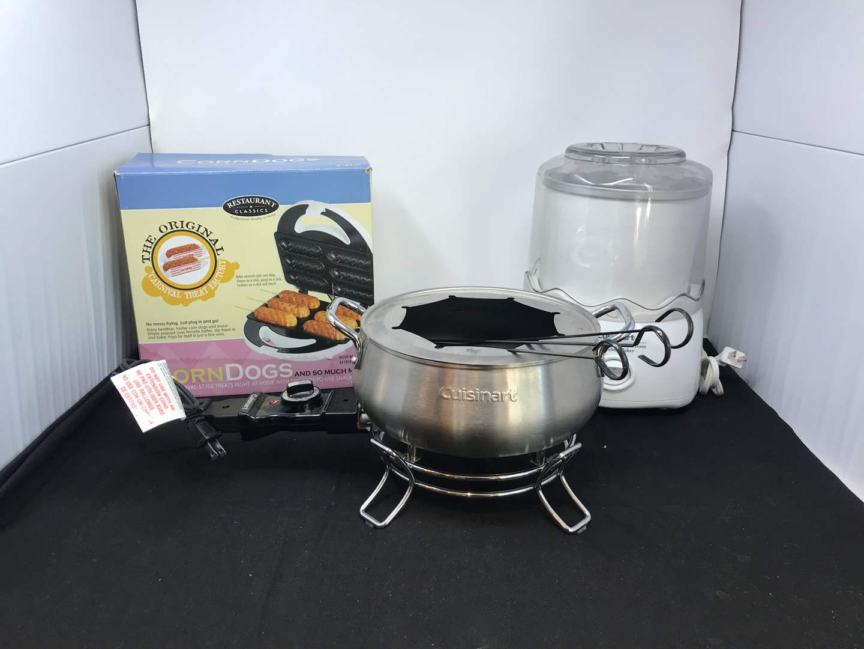 Lot # 87 - Cuisinart Fondue Pot, Yogurt/ Ice-cream Maker & Corn Dog Maker  (main image)