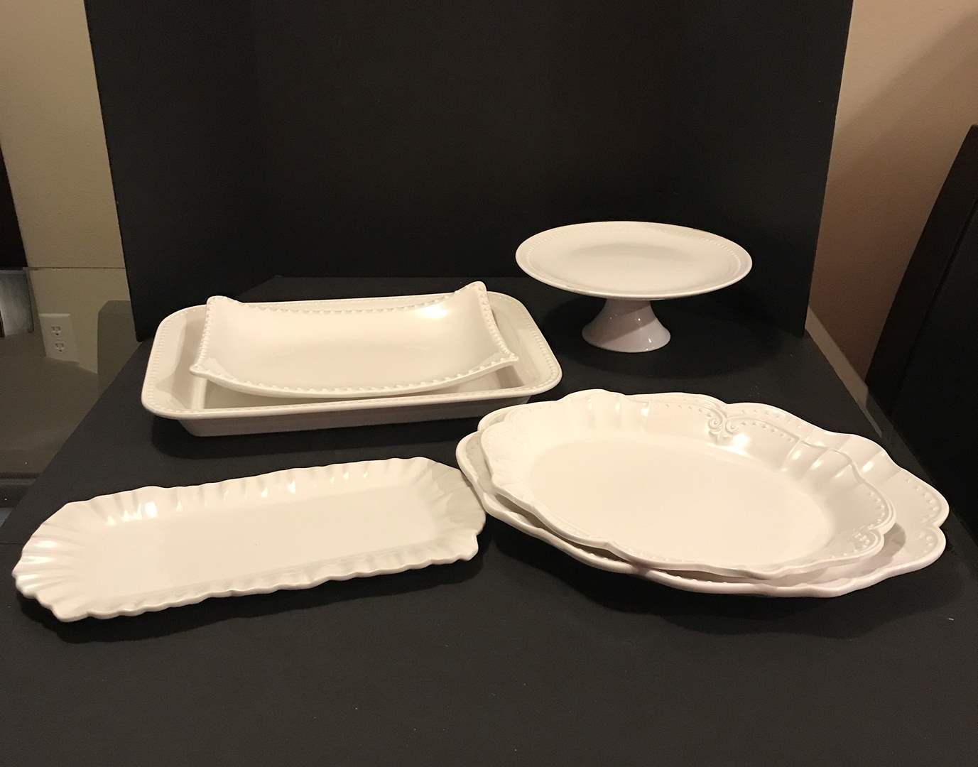 Lot # 96 - Large White Serving Dishes of Various Sizes  (main image)