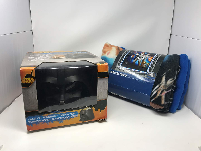 Lot # 90 - New Darth Vader Toaster & Star Wars Tie Blanket Kit (main image)