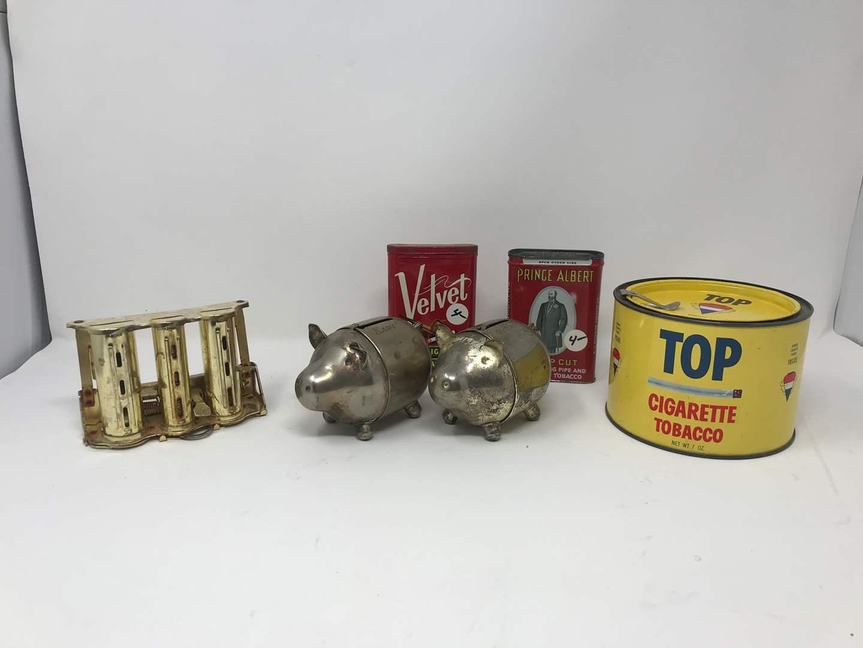 Lot # 200 - Tobacco Tins, Piggy Banks, Coin Dispenser (Has Dimes)  (main image)