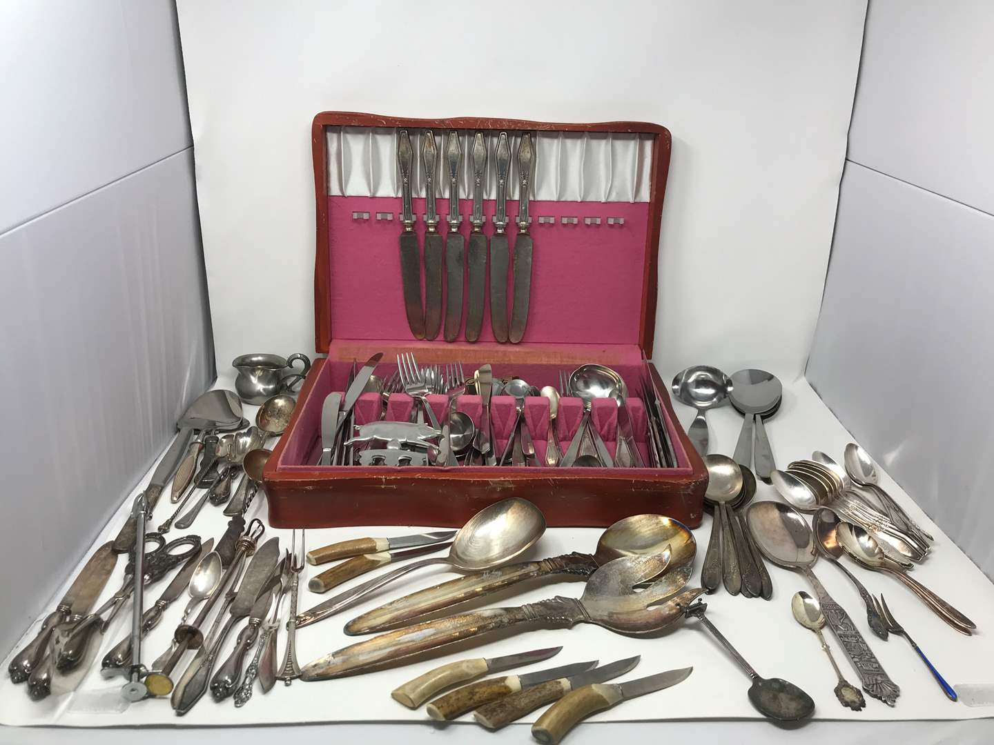 Lot # 217 - Lot of Stainless Flatware & Few Silver Inlaid  (main image)