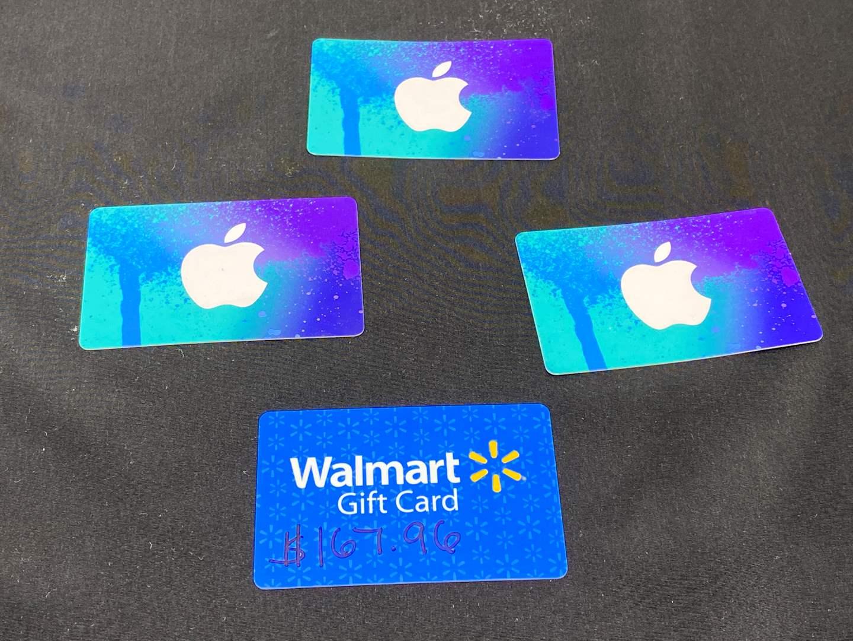 Lot # 5 - Walmart Gift Card (Balance - $167.96), Three $15 Apple Itunes Gift Cards (main image)