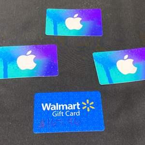 Lot # 5 - Walmart Gift Card (Balance - $167.96), Three $15 Apple Itunes Gift Cards