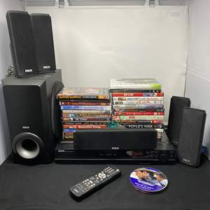 Lot # 10 - RCA DVD Home Theater System w/ Collection of DVD'S - (Powers On)