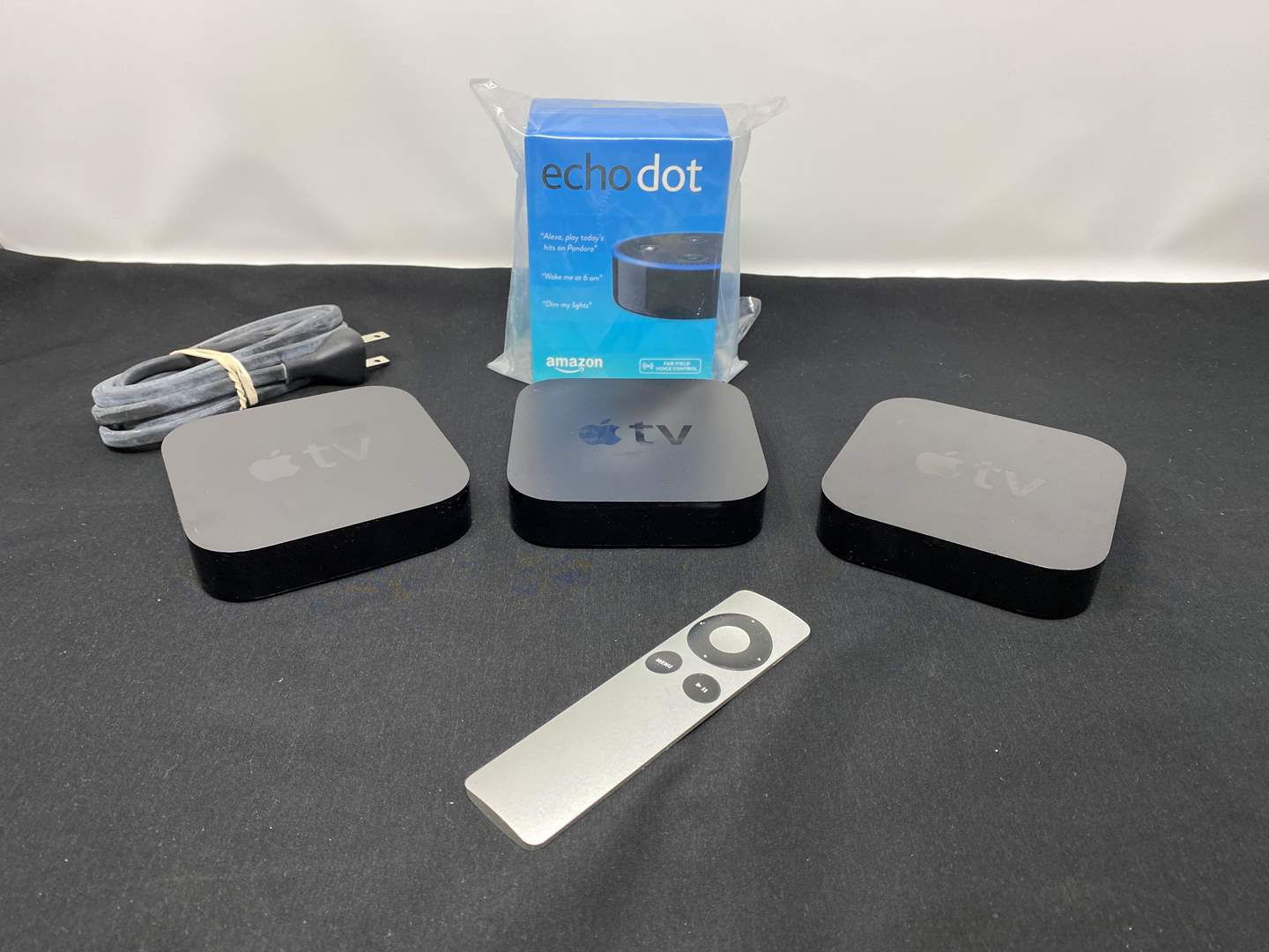 Lot # 12 - New in Box Amazon 3rd Gen Echo Dot, Three Apple TV Devices - (See Pictures for Model #'s) (main image)