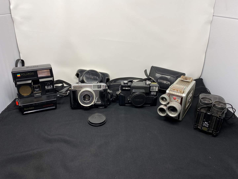 Lot # 15 - Vintage Cameras: Polaroid, Yashica, Minolta, Kodak Brownie, Pair of Small Binoculars (main image)