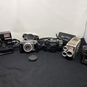 Lot # 15 - Vintage Cameras: Polaroid, Yashica, Minolta, Kodak Brownie, Pair of Small Binoculars