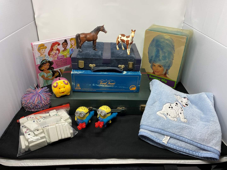 Lot # 16 - Vintage Games, Blue Wig, Disney Stories Book, Toys & More (main image)