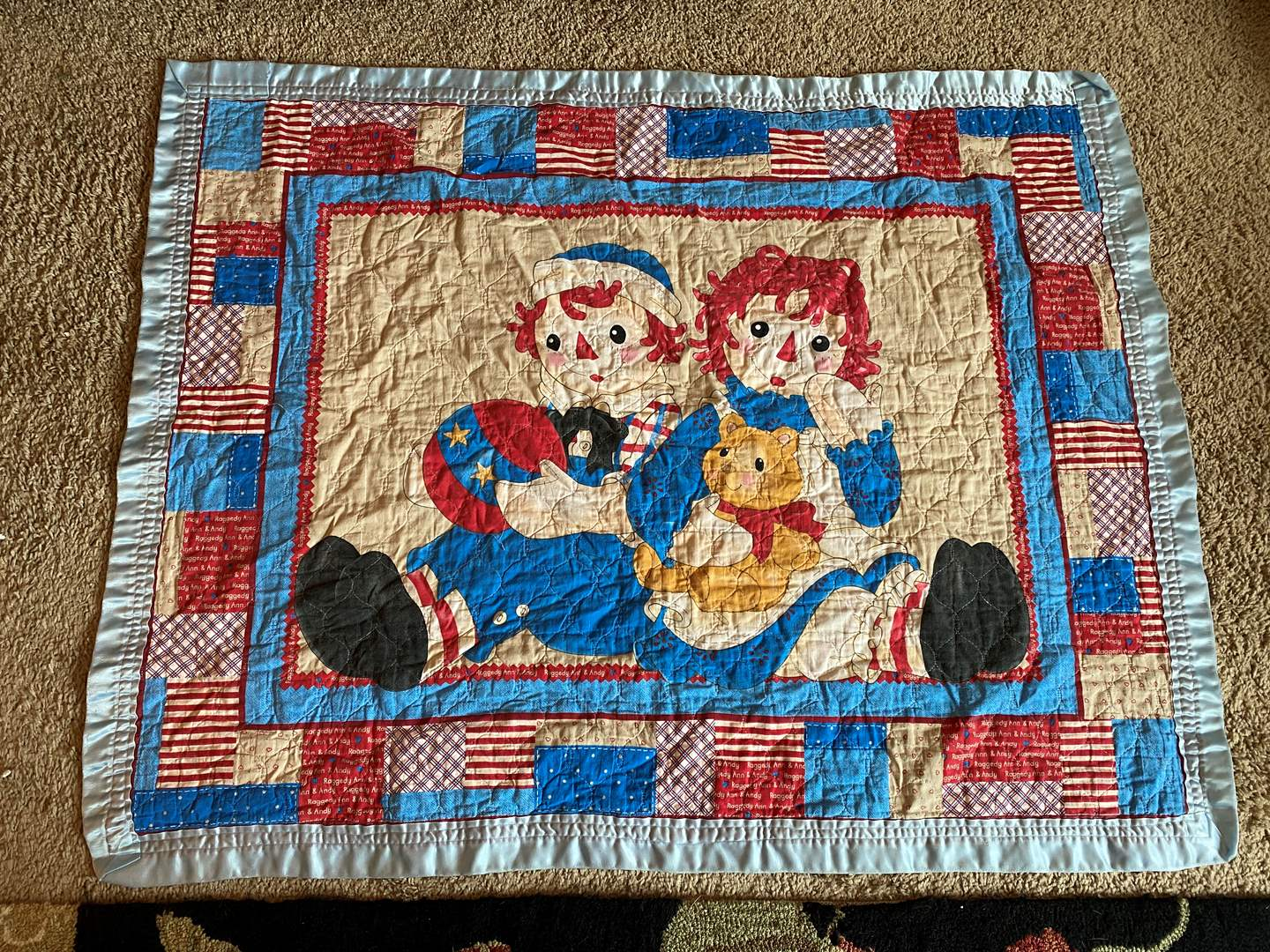 """Lot # 18 - Vintage Child Size Raggedy Ann & Andy Quilt - (43"""" x 34"""") (main image)"""