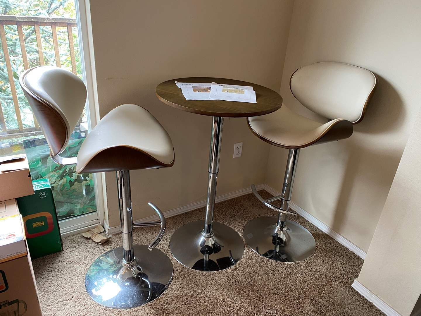 """Lot # 22 - Mid-Century Style """"Coaster Fine Furniture"""" Adjustable Bar Table & Chairs (main image)"""