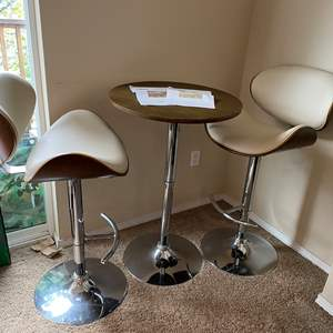 """Lot # 22 - Mid-Century Style """"Coaster Fine Furniture"""" Adjustable Bar Table & Chairs"""