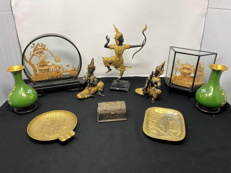 Lot # 24 - Three Heavy Metal Asian Figurines, Asian Cork Art, Brass Vases, Brass Ashtray & More (main image)