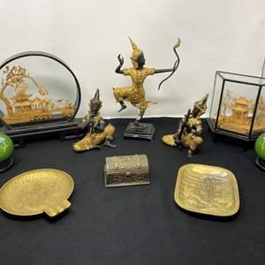 Lot # 24 - Three Heavy Metal Asian Figurines, Asian Cork Art, Brass Vases, Brass Ashtray & More