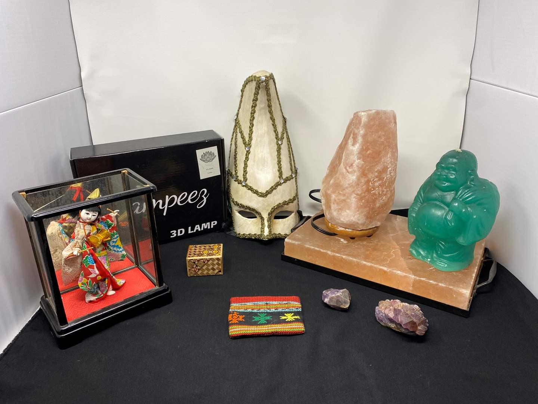 Lot # 25 - Large Salt Slab, Salt Lamp, Buddha Candle, Amethyst, Asian Figurine & More  (main image)