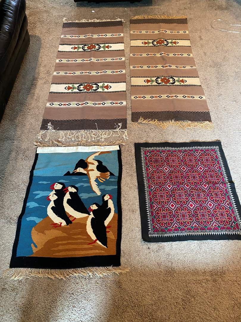 Lot # 31 - Two Wool Rug Runners/Table Runners & Two Other Handmade Items (main image)