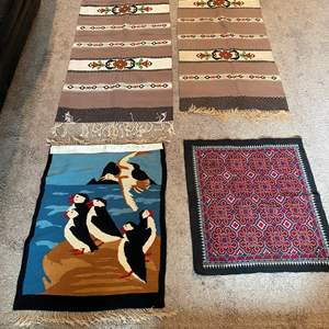 Lot # 31 - Two Wool Rug Runners/Table Runners & Two Other Handmade Items