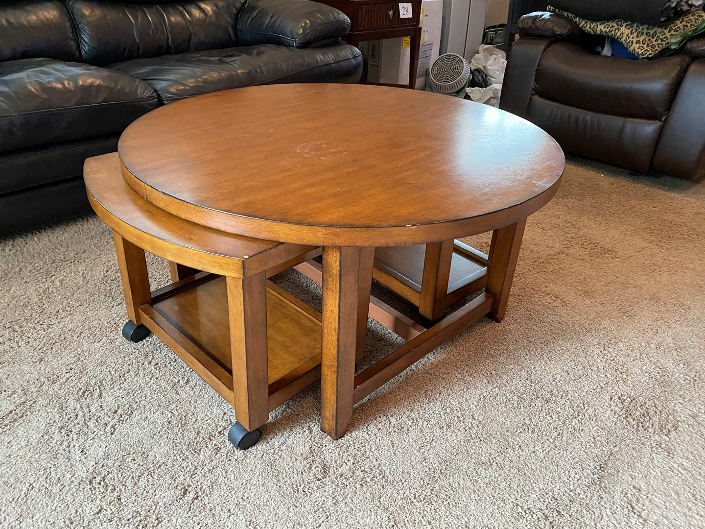 """Lot # 34 - """"Hammary Furniture"""" Round Cocktail Table w/ Nesting Rolling Side Tables (main image)"""