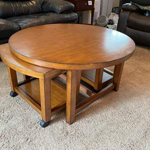 """Lot # 34 - """"Hammary Furniture"""" Round Cocktail Table w/ Nesting Rolling Side Tables"""