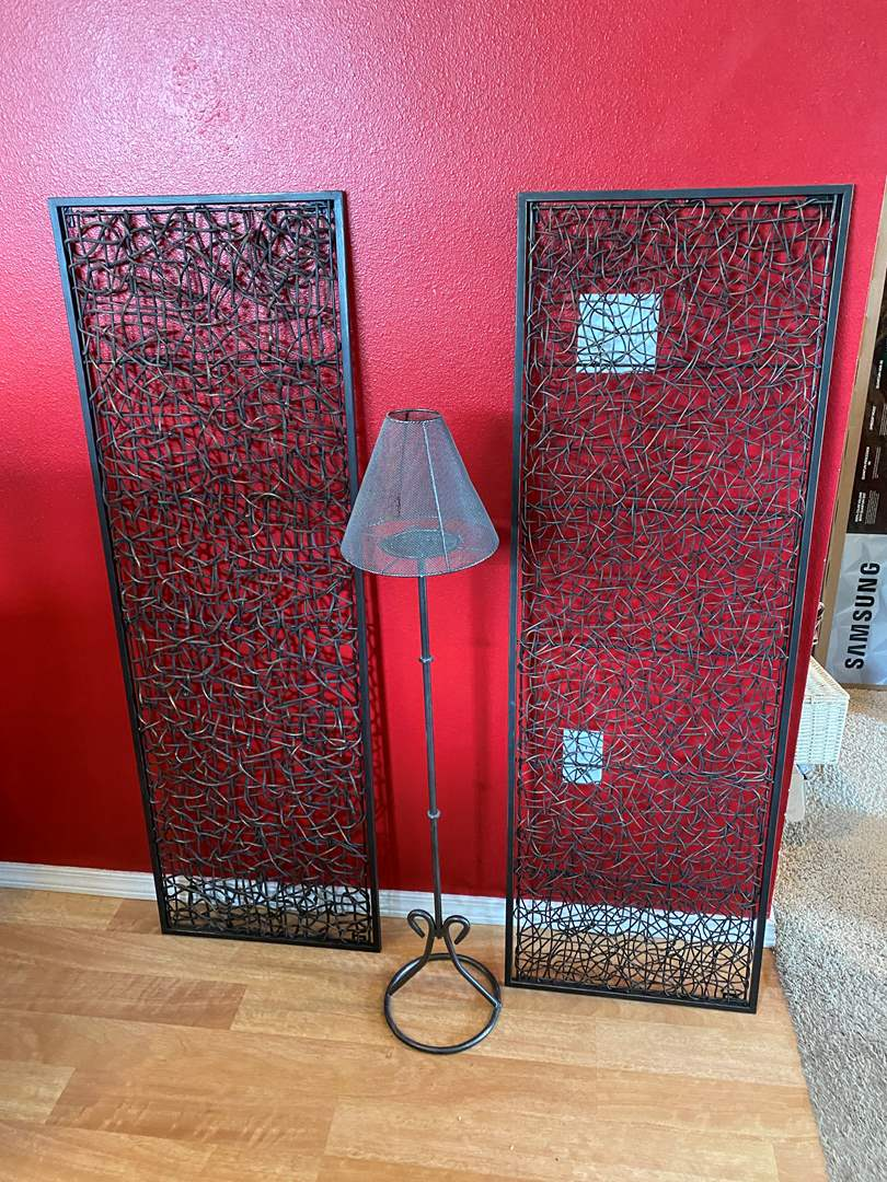 Lot # 39 - Two Large Pieces of Metal Wall Hangings, Metal Candle Lamp Stand (main image)