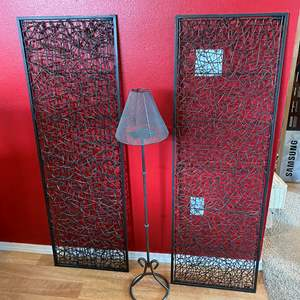 Lot # 39 - Two Large Pieces of Metal Wall Hangings, Metal Candle Lamp Stand