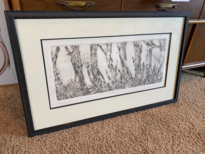 """Lot # 44 - Original Framed Signed Artwork """"Evening Forrest"""" - (Unknown Signature) (main image)"""