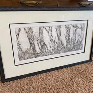 """Lot # 44 - Original Framed Signed Artwork """"Evening Forrest"""" - (Unknown Signature)"""