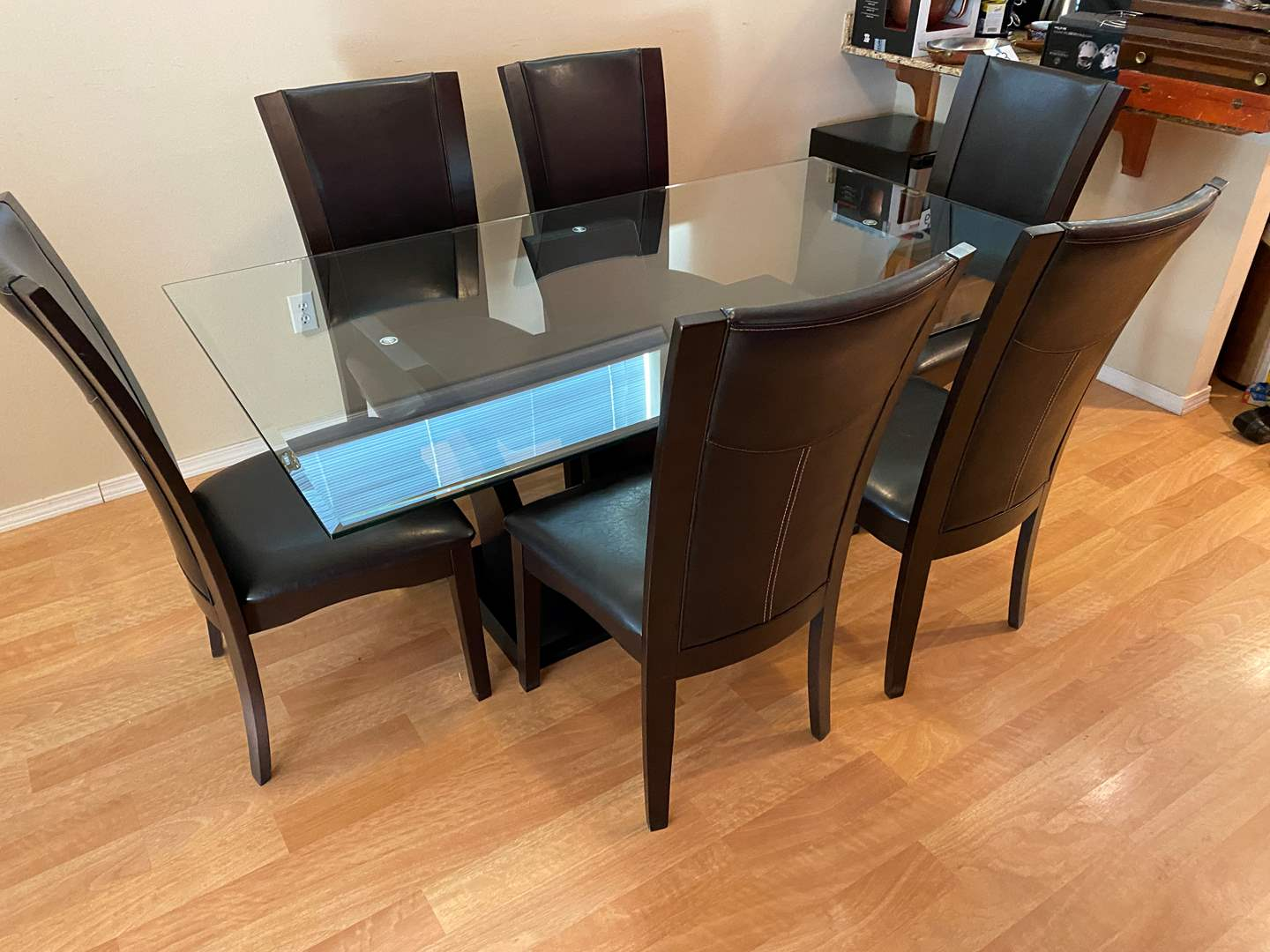Lot # 107 - Heavy Beveled Glass Top Dining Room Table w/ 6 Chairs (main image)